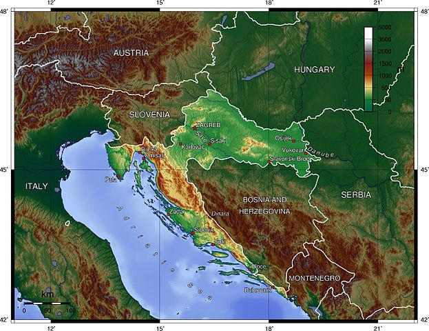 Kroatien topografisk karta